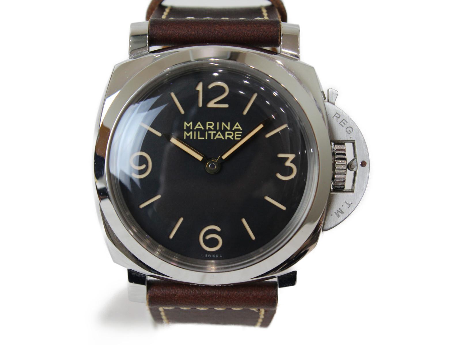 【1000本限定】OFFICINE PANERAI オフィチーネ パネライ ルミノール1950マリーナミリターレ3デイズ アッチャイオ PAM00673 手巻き SS 革ベルト ブラック メンズ 腕時計【中古】
