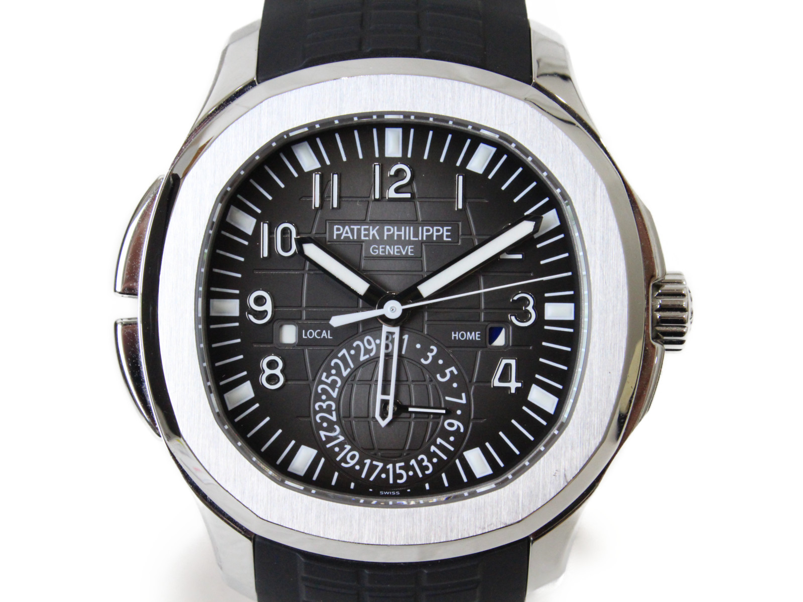 【ギャラ有】PATEK PHILIPPE パテックフィリップ アクアノート トラベルタイム 5164A-001 自動巻き デイト GMT SS ブラック・エンボス ラバー メンズ 腕時計【中古】