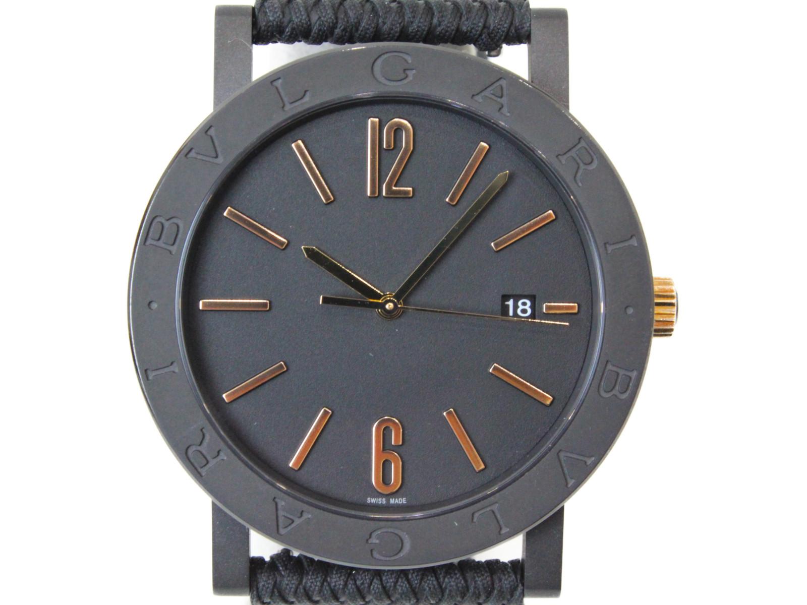 【替えベルト付】BVLGARI ブルガリ ブルガリ・ブルガリ ソロテンポ BB41S 102929 自動巻き デイト SS ブラック メンズ 腕時計【中古】