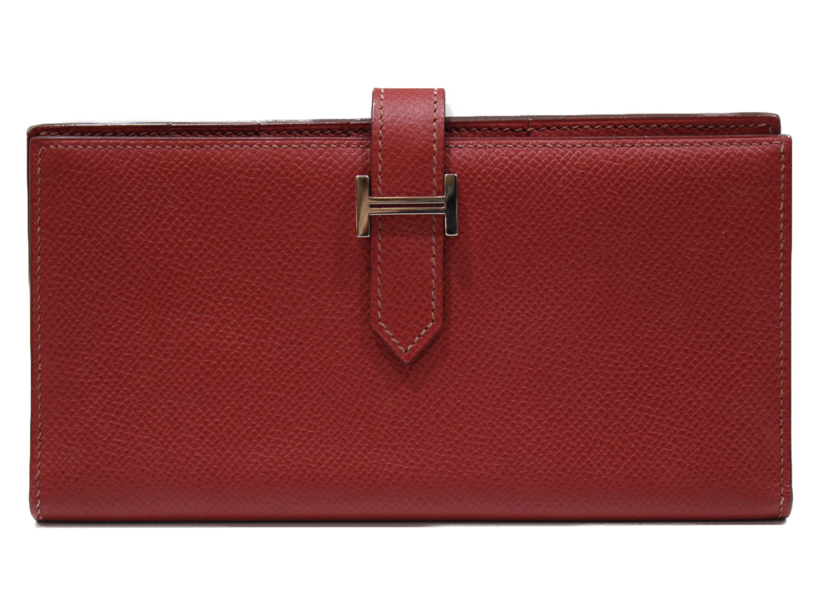 【箱あり】HERMES ベアンスフレ 2007年製造 レッド系 レディース メンズ 長財布 ウォレット シンプル プレゼント包装可 【中古】
