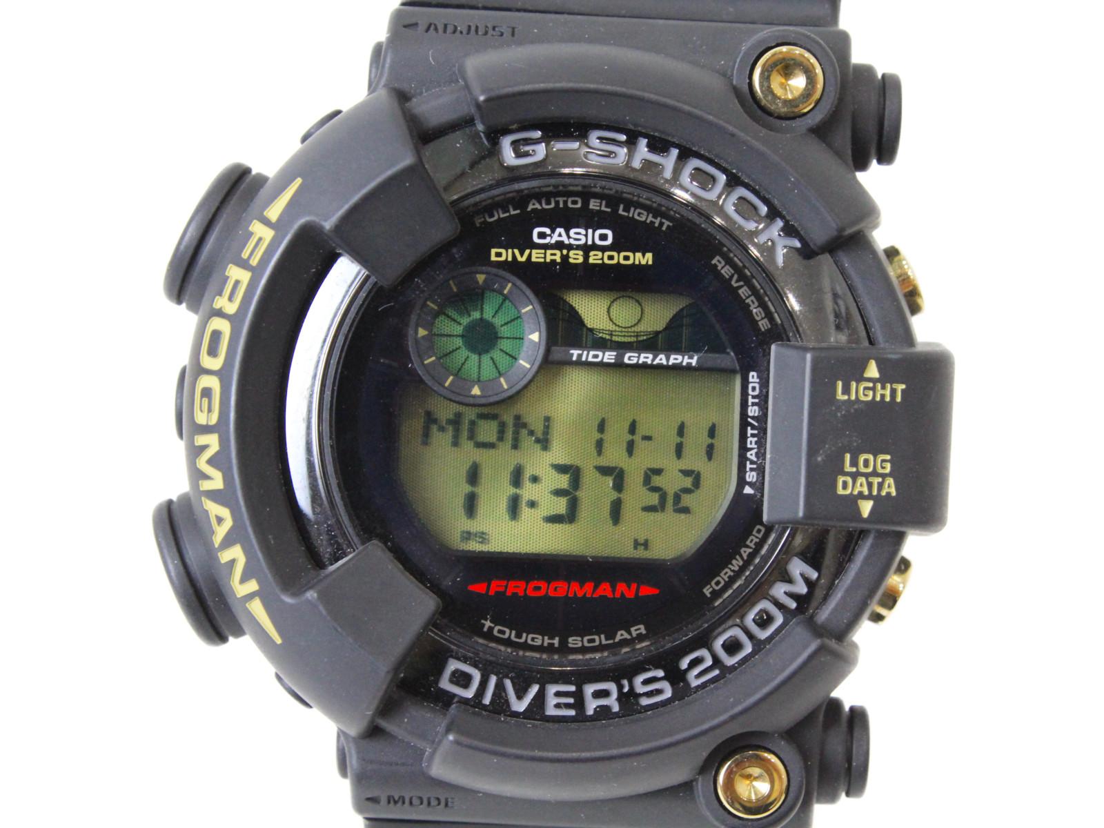 【35周年記念モデル】CASIO カシオ G-SHOCK フロッグマン GF-8235D-1BJR デジタル タフソーラー ラバー ブラック メンズ 腕時計【中古】