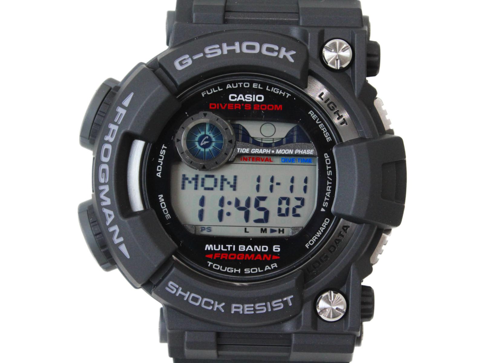 【マスターオブG】CASIO カシオ G-SHOCK フロッグマン GWF-1000-1JF デジタル タフソーラー ラバー ブラック メンズ 腕時計【中古】