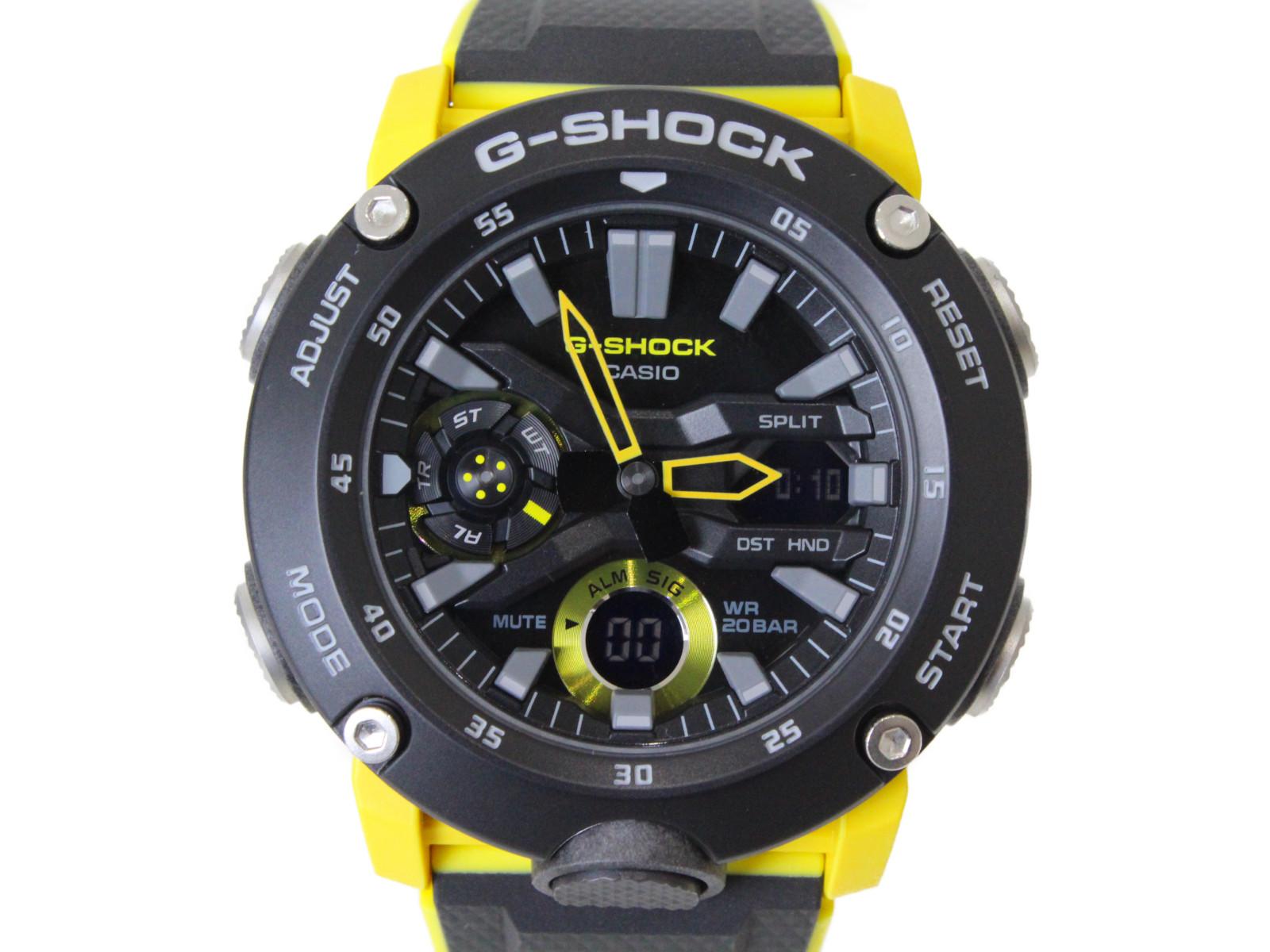 CASIO カシオ G-SHOCK ベーシック GA-2000-1A9JF クオーツ アナログ デジタル ラバー ブラック イエロー メンズ 腕時計【中古】