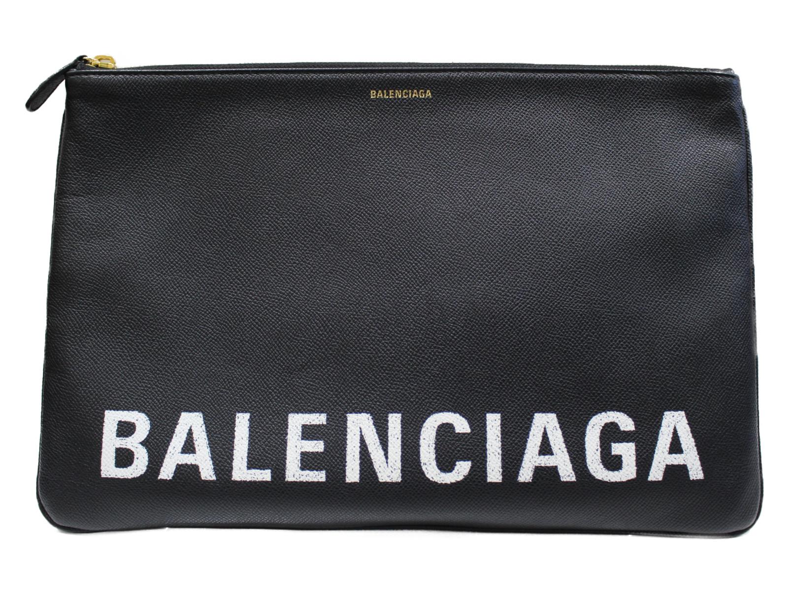 【布袋あり】BALENCIAGA クラッチバッグ 529313 レザー ブラック メンズ レディース ユニセックス シンプル プレゼント包装可 【中古】