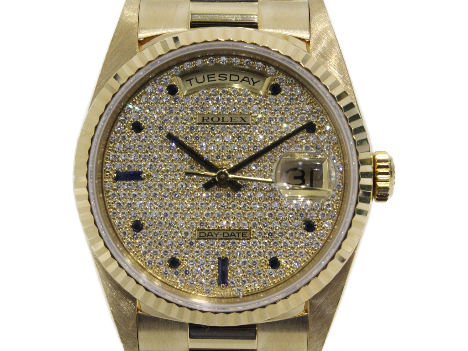 【純正文字盤】ROLEX ロレックス デイデイト 18238 E番 自動巻き K18YG イエローゴールド ダイヤモンド サファイア メンズ 腕時計【中古】