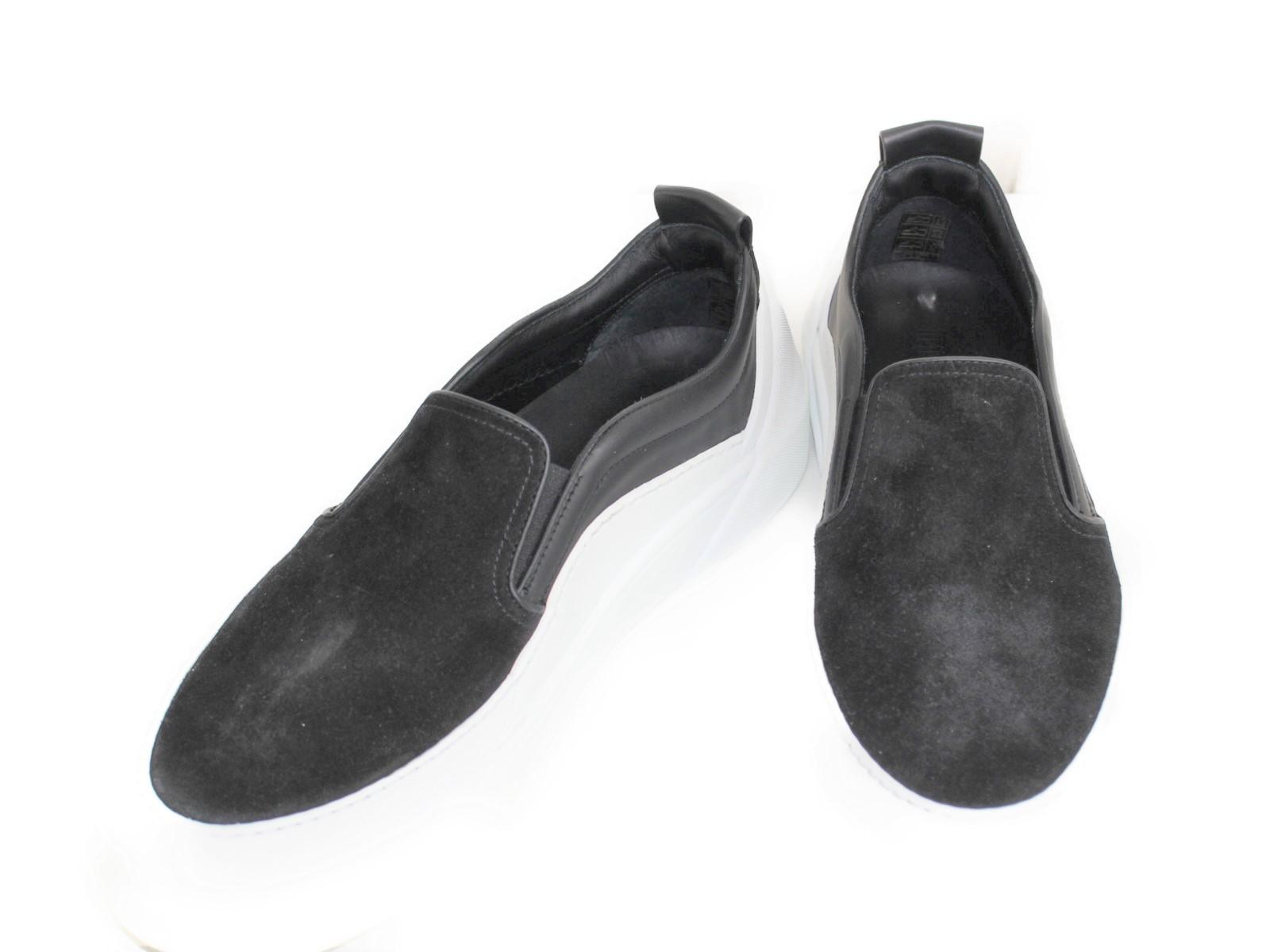 JIMMY CHOO ジミーチュウ スエード×ソフトレザースリッポン  ブラック×ホワイト スエード レザー メンズ ユニセックス ブランド 靴 シューズ 【中古】