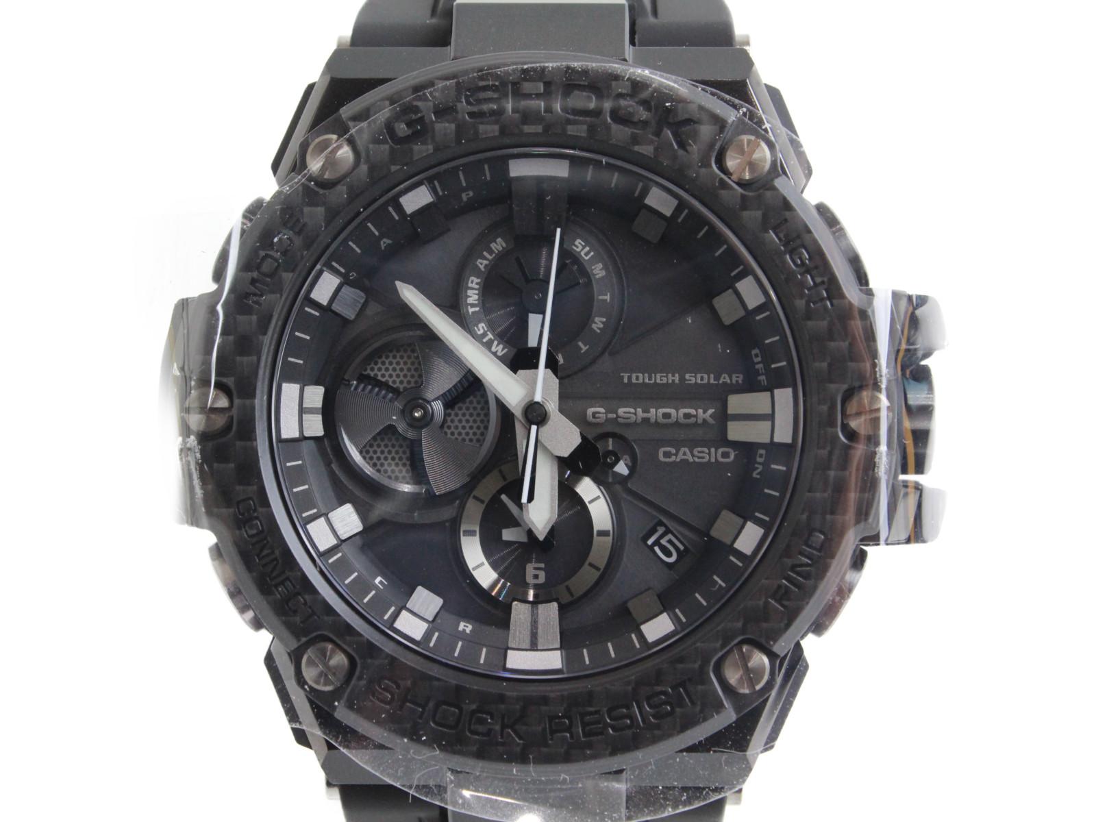 【Bluetooth】CASIO カシオ G-SHOCK ジーショック G-STEEL GST-B100X-1AJF タフソーラー アナログ SS ステンレススチール ラバー ブラック メンズ 腕時計【中古】