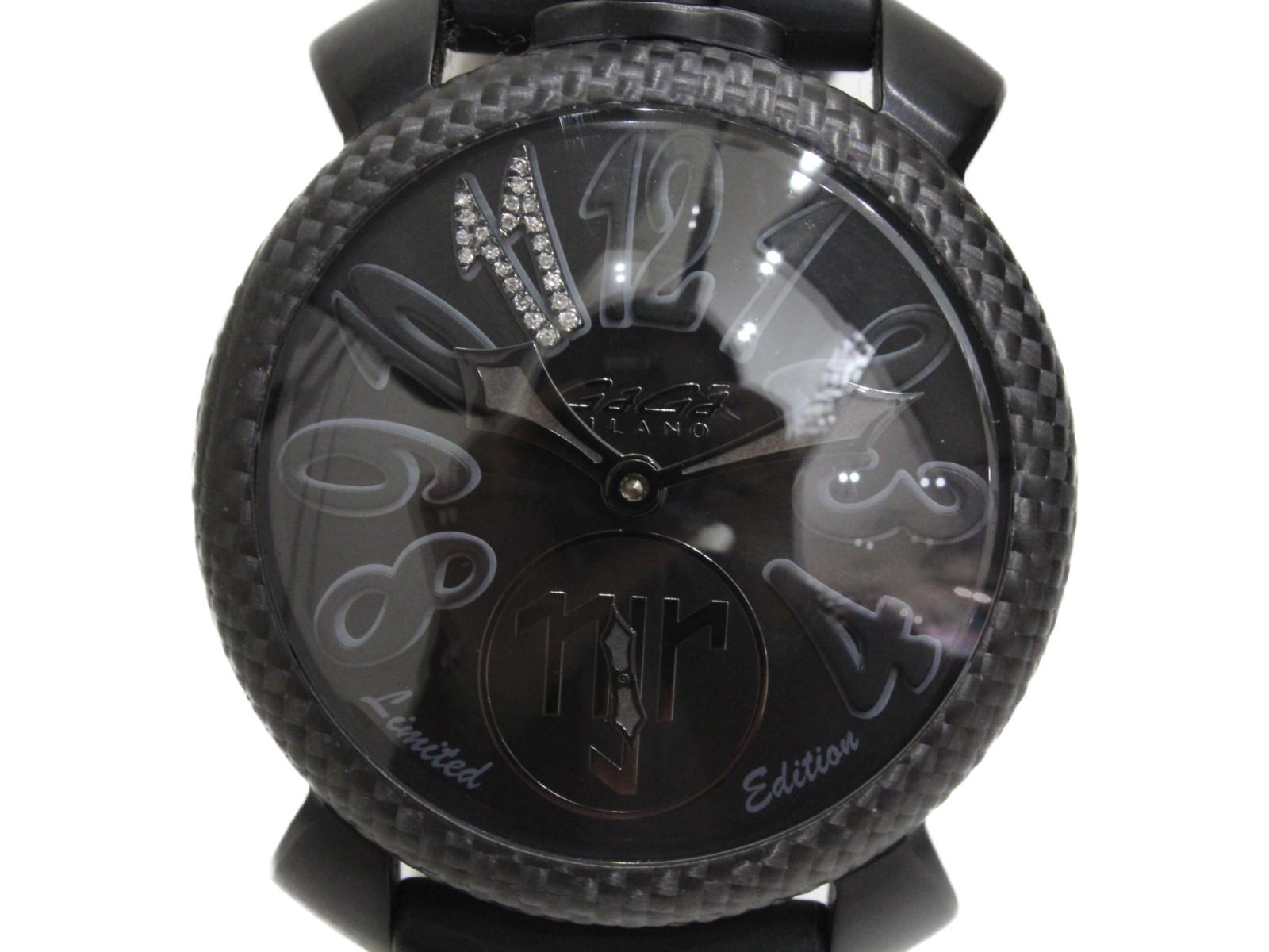 【ネイマールコラボ世界500本限定】GaGamilano ガガミラノ マヌアーレ48MM 手巻き レザーベルト 牛革ベルト ブラック メンズ 腕時計【中古】