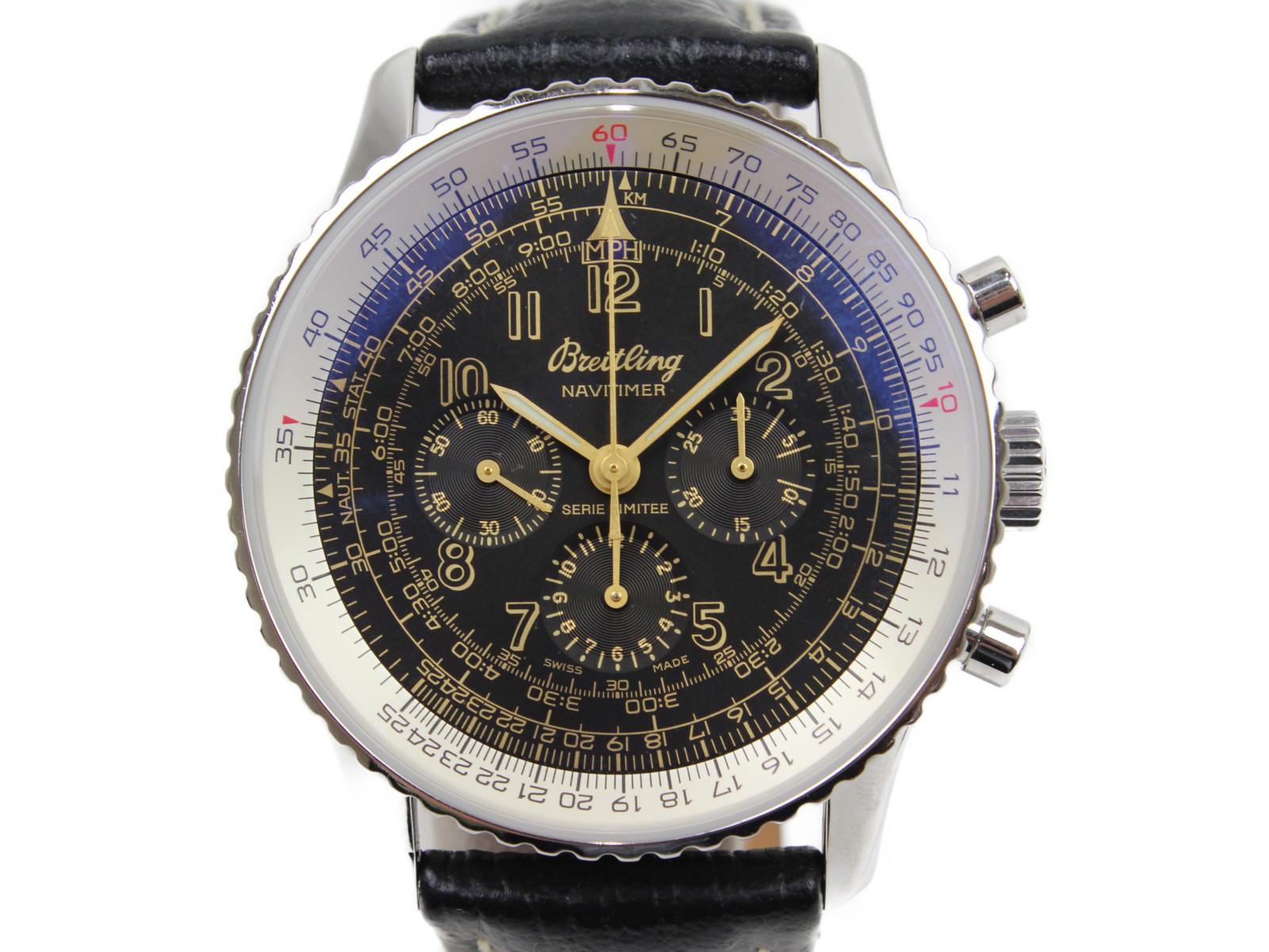 【日本400本限定】BREITLING ブライトリング ナビタイマー メカニック  A120BNMFBA A11022.1 手巻き クロノグラフ SS 革ベルト ブラック ゴールド メンズ 腕時計【中古】