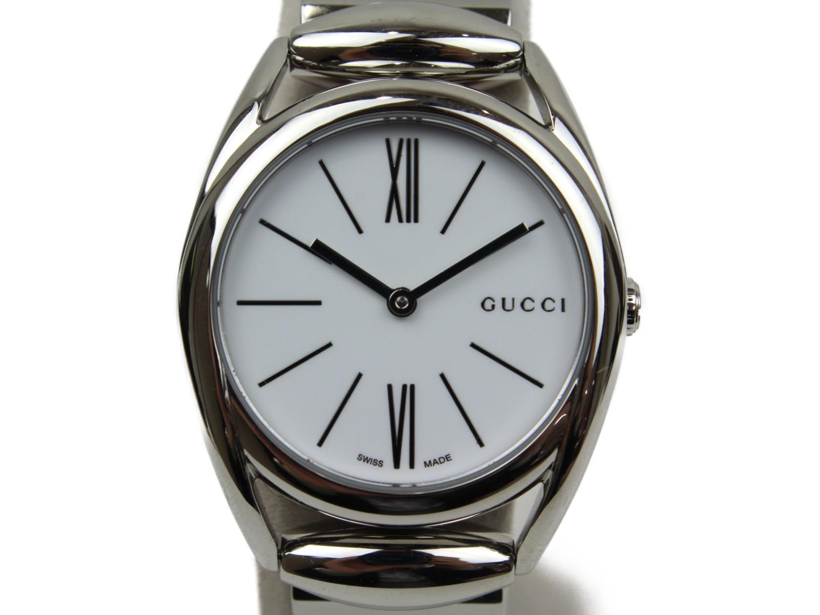 GUCCI グッチ ホースビット 140.5 クオーツ SS ホワイト レディース 腕時計【中古】