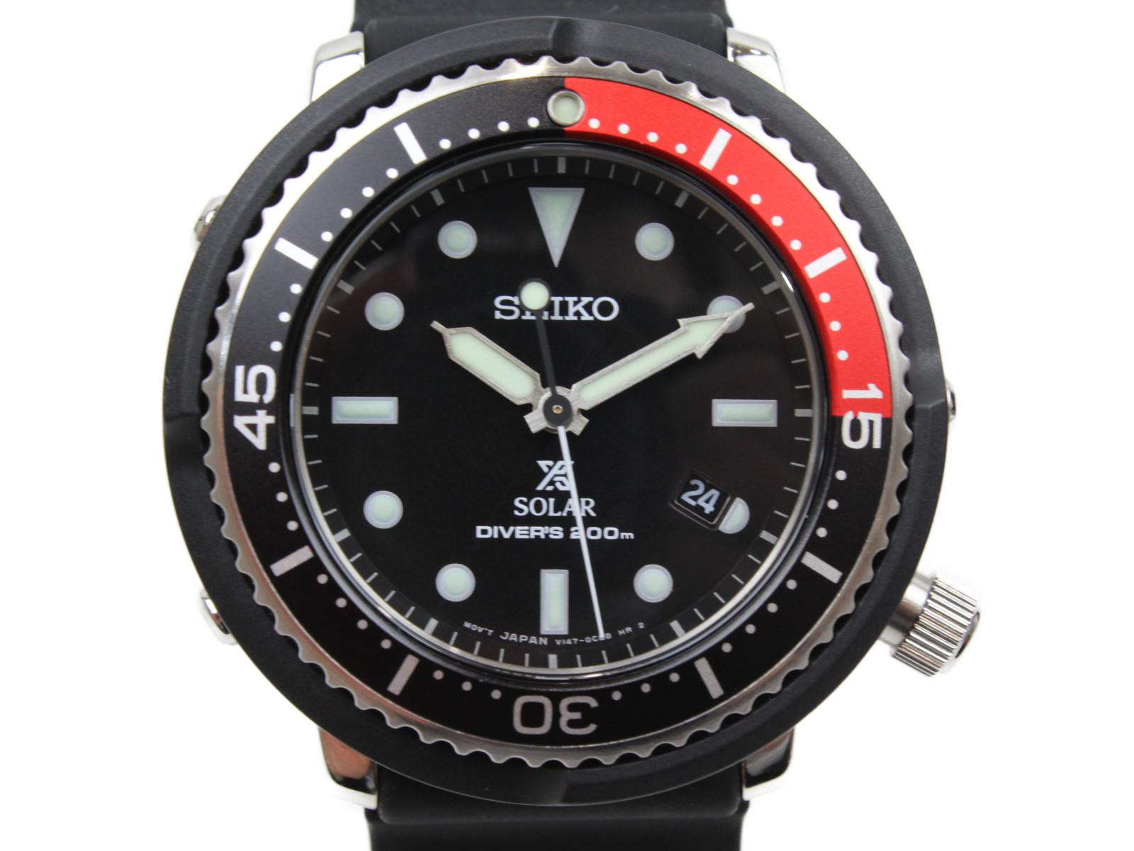 【LOWERCASEプロデュース2000本限定モデル】SEIKO セイコー プロスペック V147-0CC0 ソーラー デイト ラバー ブラック レッド メンズ 腕時計【中古】