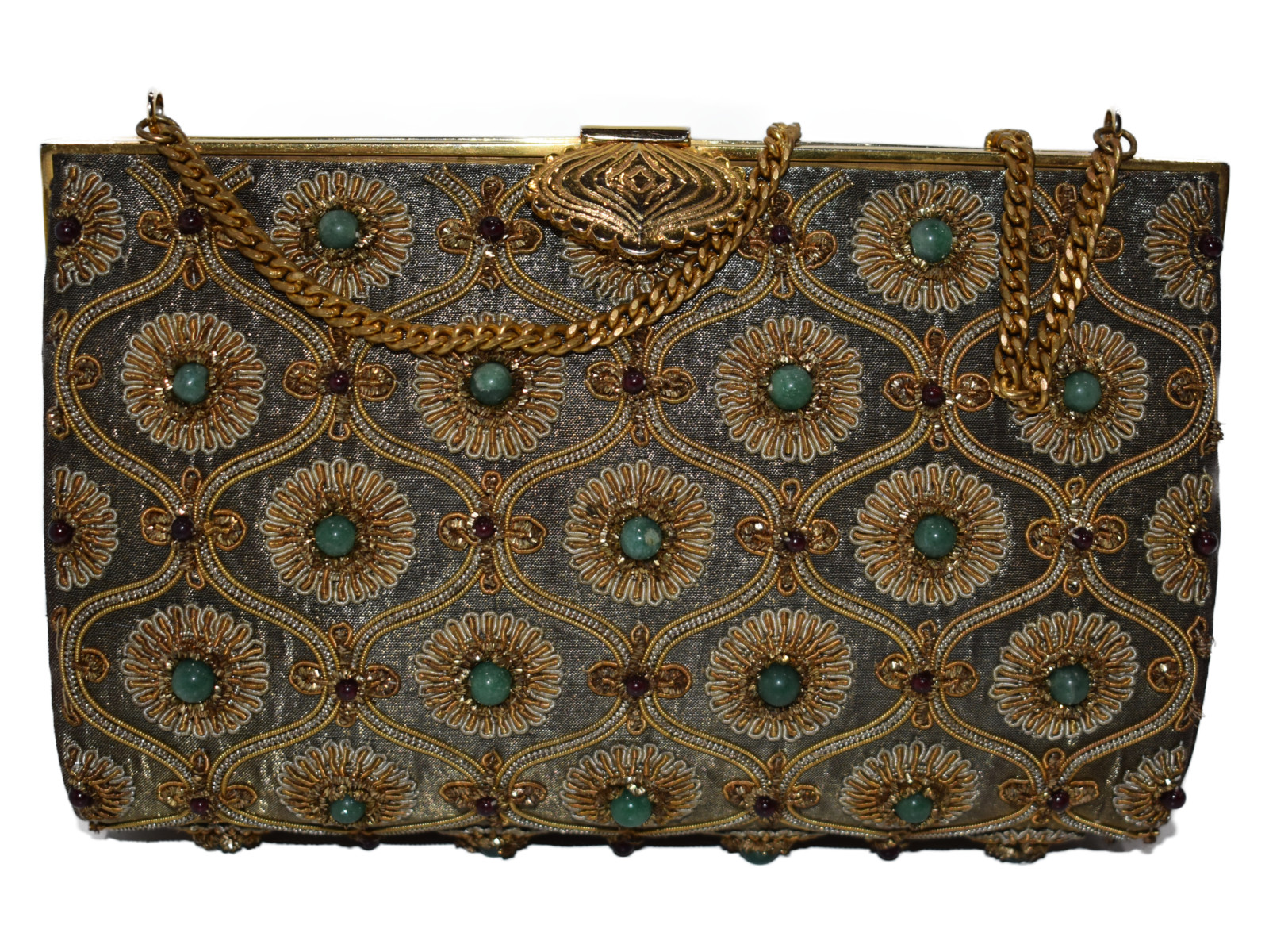 【☆和装にピッタリ☆】 和装バッグ   ゴールド系   和装 着物 コンパクト ハンドバッグ【中古】