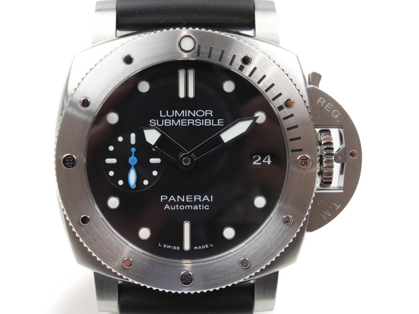 OFFICINE PANERAI オフィチーネ パネライ ルミノール 1950 サブマーシブル 3デイズ アッチャイオ PAM00682 自動巻き デイト SS ラバー ブラック メンズ 腕時計【中古】
