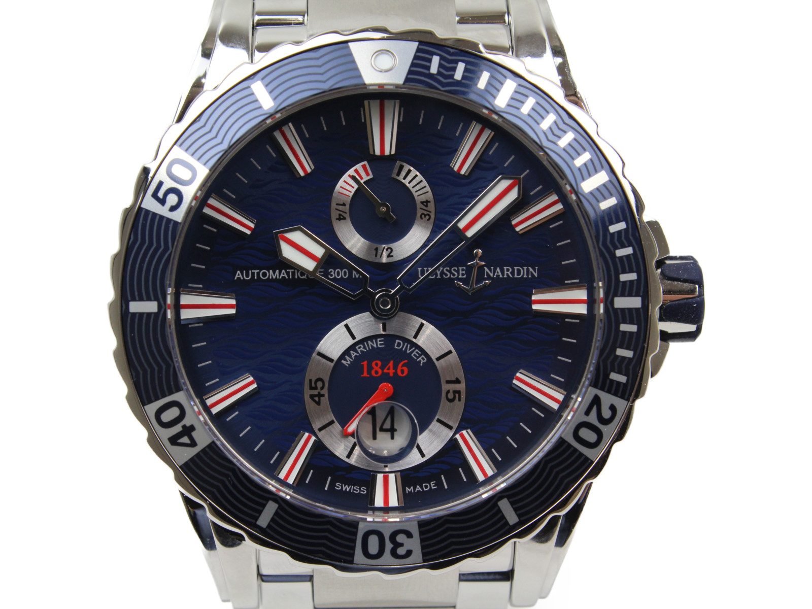 ULYSSE NARDIN ユリスナルダン マリーンダイバー 263-10-7M/39 自動巻き デイト SS ブルー メンズ 腕時計【中古】
