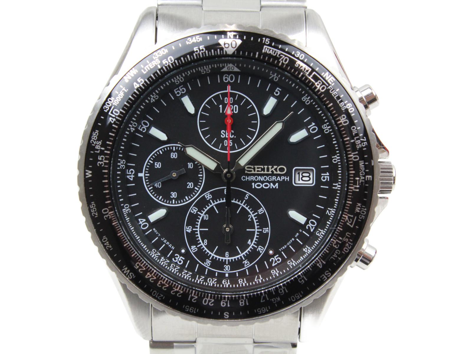 【逆輸入モデル】SEIKO セイコー パイロット クロノグラフ SND253P1 クオーツ デイト SS ブラック メンズ 腕時計 【中古】