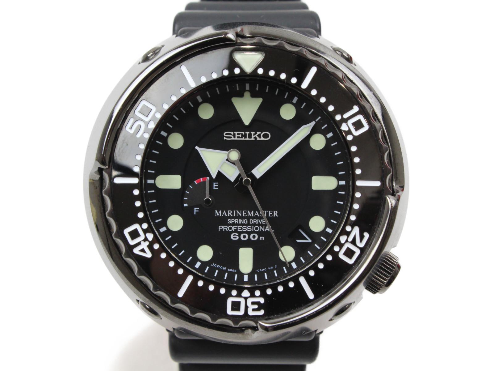 SEIKO セイコー プロスペック マリーンマスター プロフェッショナル SBDB013 自動巻き チタン ラバー ブラック メンズ 腕時計 【中古】