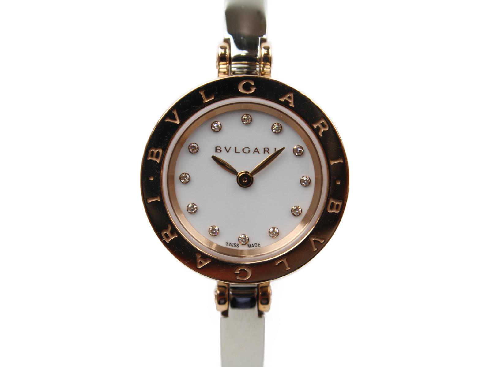 BVLGARI ブルガリ B.ZERO1  ビーゼロワン BZ23WSGS/12 クオーツ K18 ピンクゴールド SS ダイヤモンド ホワイト レディース 腕時計 【中古】