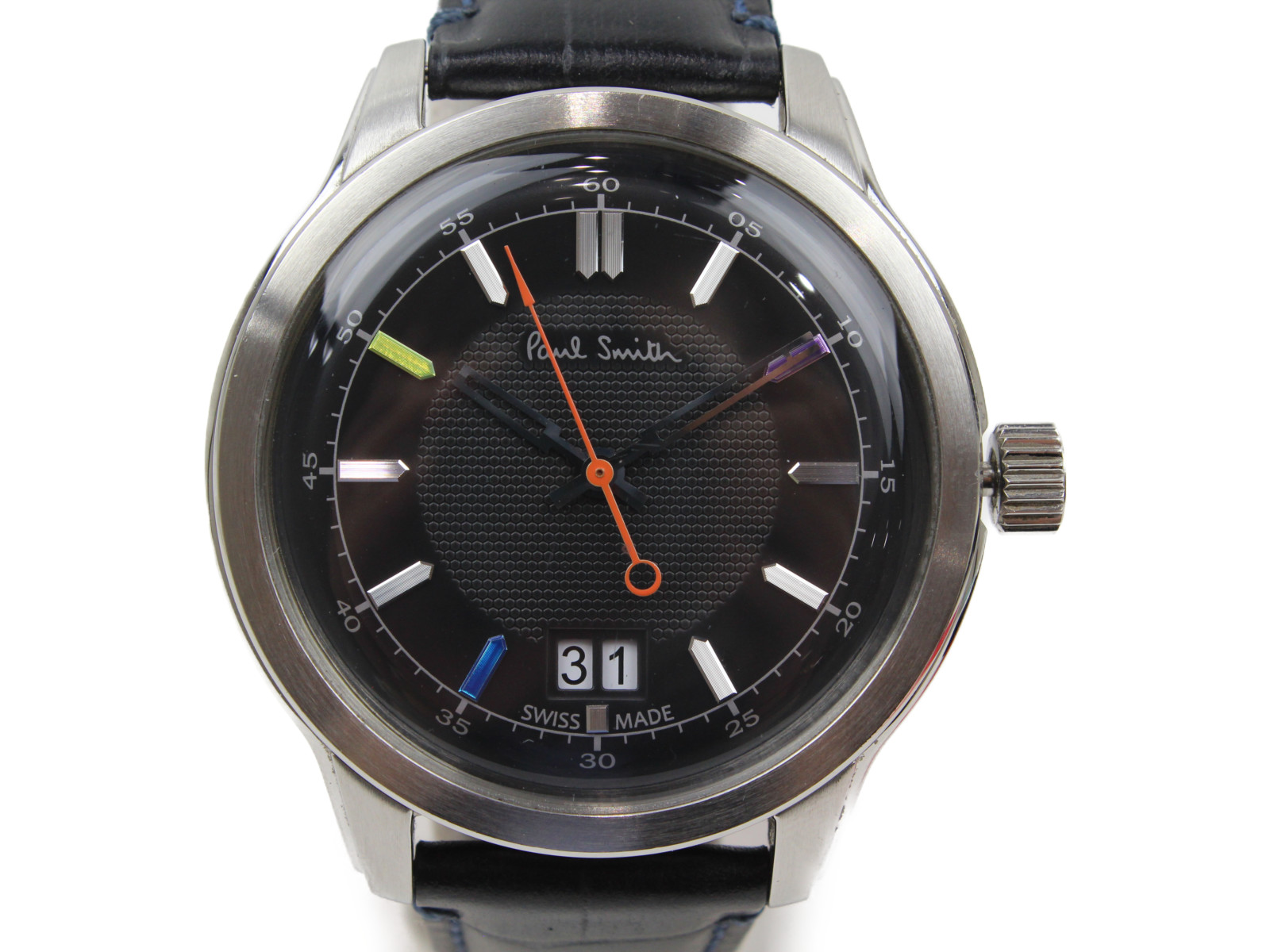 Paul Smith ポール・スミス ケンブリッジ YA30-SO84270 クオーツ デイデイト SS 革ベルト レインボー ブラック メンズ 腕時計【中古】
