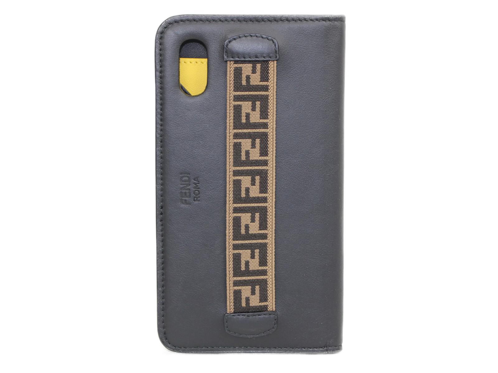 FENDI iphone X ケース  ブラック ブラウン イエロー レザー レディース メンズ ユニセックス スマホ カバー アイホン アイフォン アクセサリー 小物【中古】