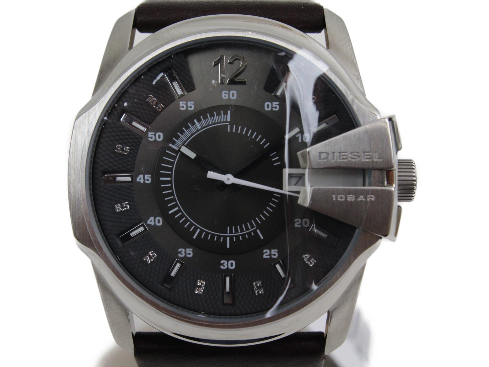 DIESEL ディーゼル マスターチーフ デイト DZ1206 クオーツ SS 革ベルト グレー ブラウン メンズ 腕時計【中古】