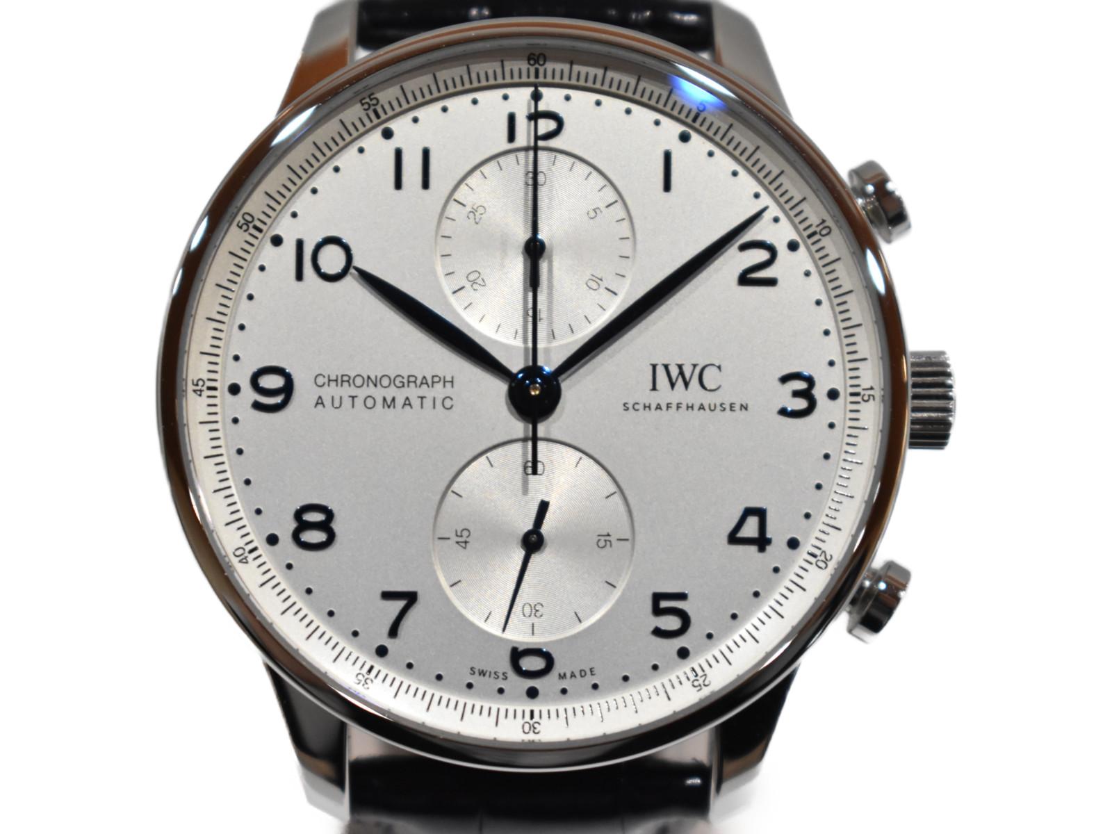 【箱・ギャラ有り★】IWCポルトギーゼ クロノグラフIW371605 62***** アリゲーターストラップ 自動巻き メンズ 時計 腕時計 人気 おしゃれ シンプル プレゼント包装可【中古】