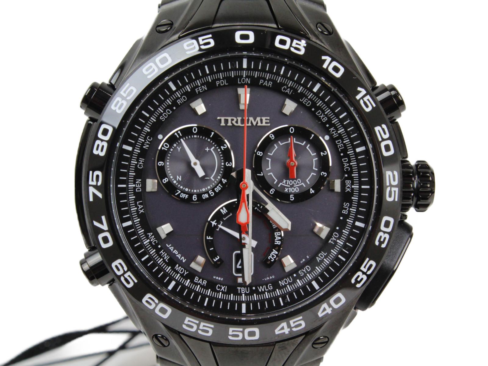 EPSON エプソン TRUME トゥルーム TR-MB8002 ソーラー チタン クロノグラフ デイト ブラック メンズ 腕時計【中古】