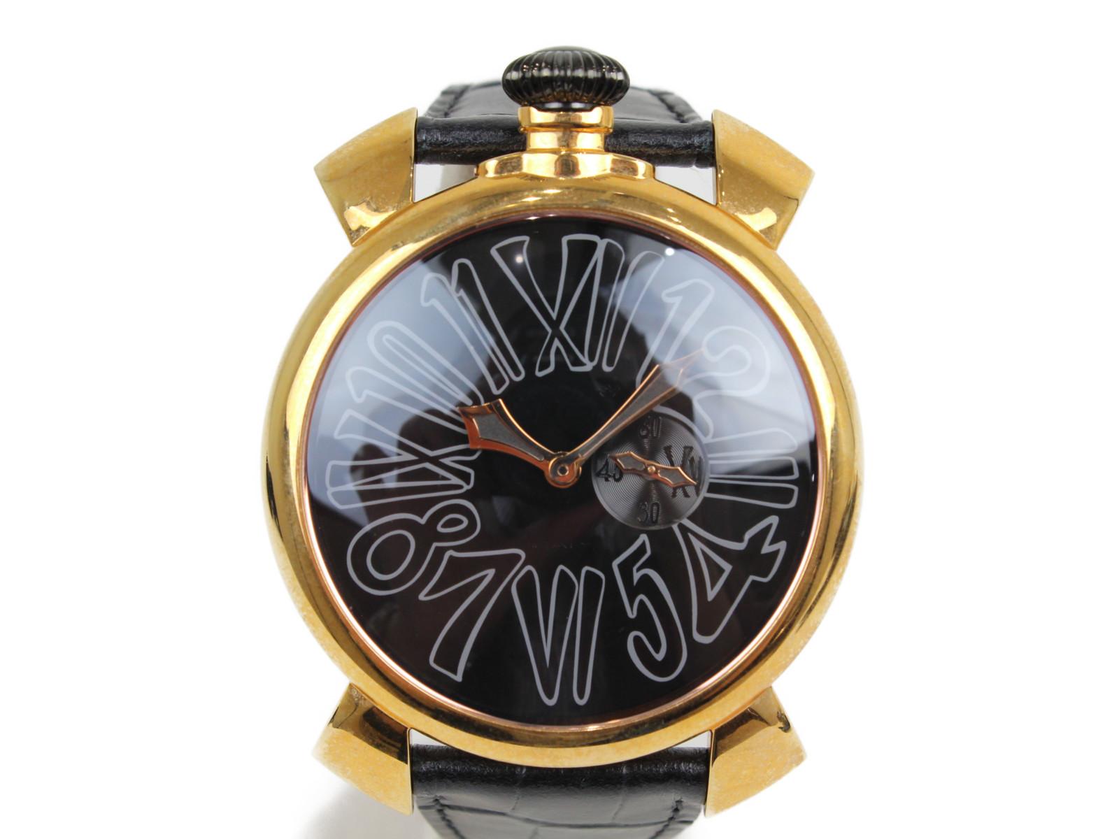 【ヴェルファイア限定コラボ999本】GaGaMILANO ガガミラノ マヌアーレスリム46 クオーツ スモールセコンド YG 革ベルト ブラック メンズ 腕時計【中古】
