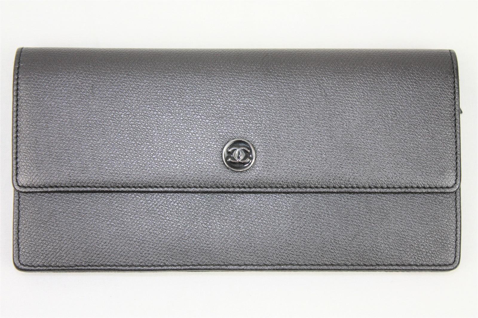 【珍しい☆】CHANEL シャネル長財布 二つ折り ボタンココボタン セブルガライン グレー キャンバス【中古】