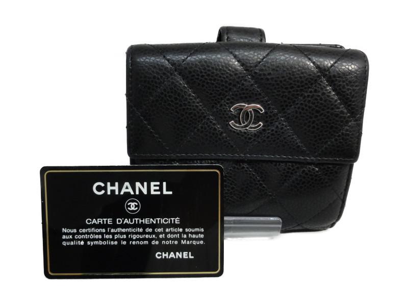 シャネル CHANEL Wホック財布 レディース レザー A48980 ブラック 【中古】