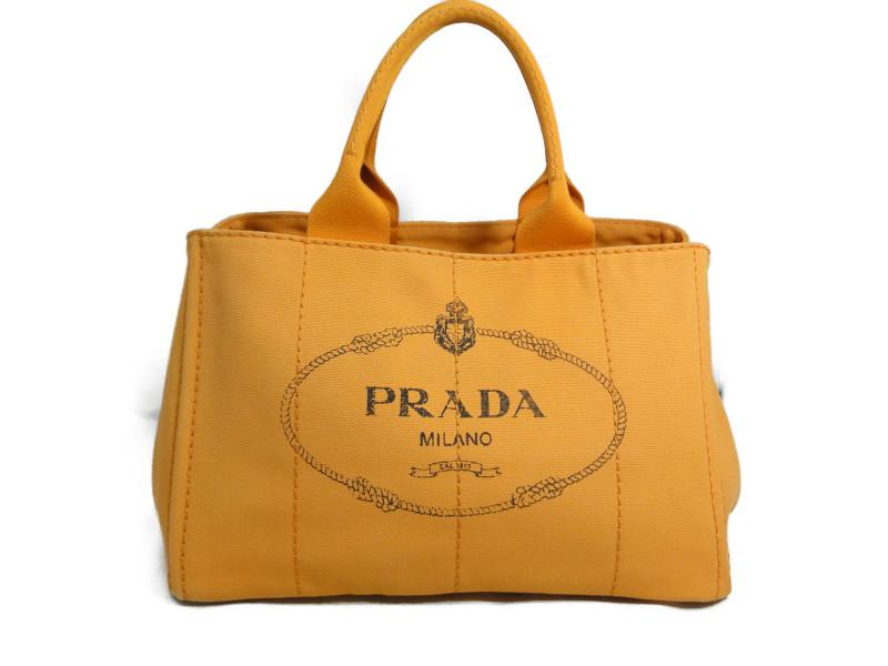 PRADA プラダ BN1877 カナパ トートバッグ キャンバス オレンジ×ゴールド金具 【中古】
