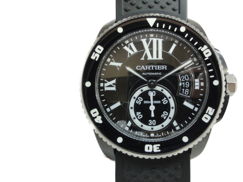 【Cartier】カルテェエ カリブル ドゥ カルティエ ダイバー WSCA0006 黒文字盤 SS×ラバー 自動巻き 【中古】