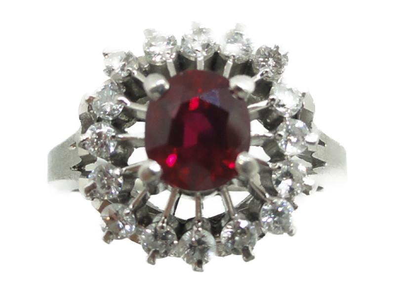 PM900 リング 合成ルビー/天然ダイヤモンド 6.1g/0.40ct 指輪 レッド×シルバー ソーティング付き【中古】