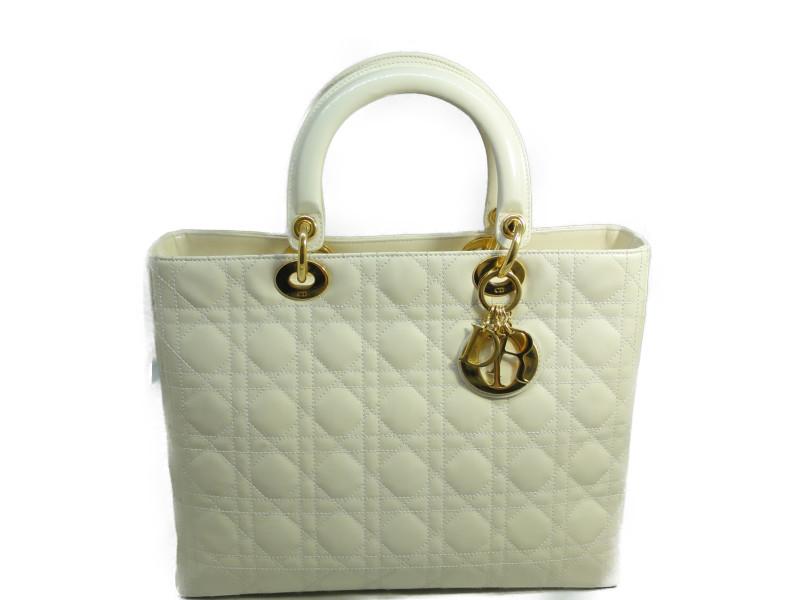 Christian Dior クリスチャンディオール レディディオール ハンドバッグ エナメル ホワイト×ゴールド 白【中古】