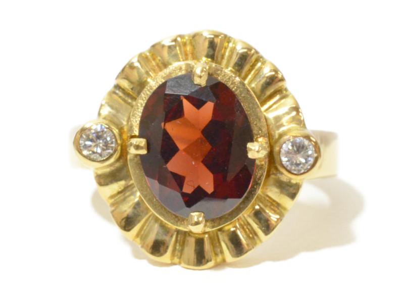 K18 ゴールド ロードライトガーネット/ダイヤモンド リング 指輪 G2.73/D0.12ct レッド/ゴールド 10.5号【中古】