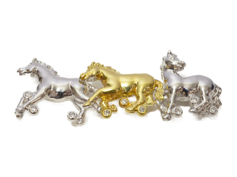 K18/K18WG ホースモチーフブローチ 馬 ゴールド ホワイトゴールド ダイヤモンド 【中古】