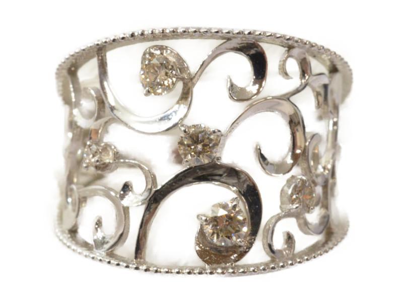 【期間限定ポイント5倍!!4月25日0:00~5月6日23:59迄!】K18WG ダイヤ付きリング ホワイトゴールド ダイヤモンド 指輪 【新品】
