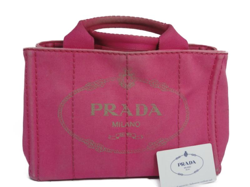 PRADA プラダ カナパ トートバッグ ハンドバッグ ピンク キャンバス レディース【中古】