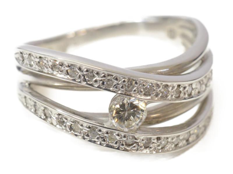 K18WG ホワイトゴールド ダイヤモンド D0.30ct 石付きリング 指輪 シルバー 13号【中古】