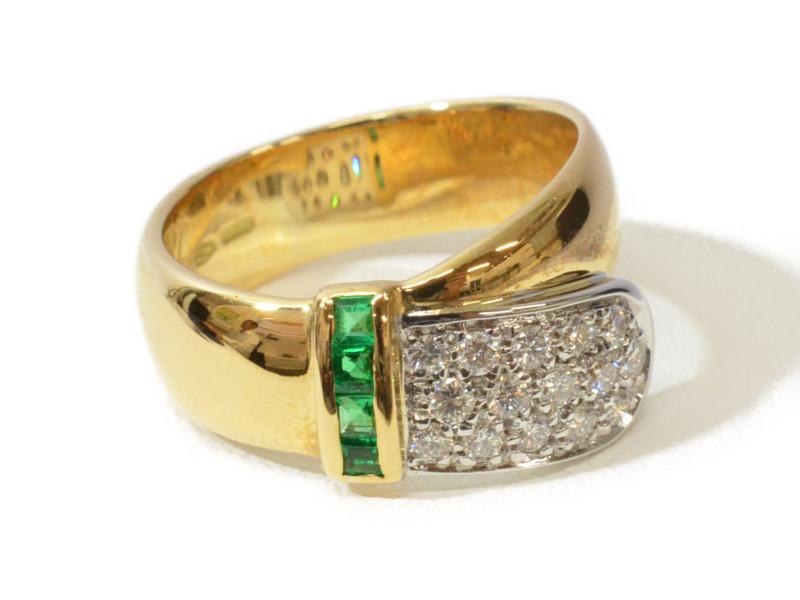 【期間限定ポイント5倍!!4月25日0:00~5月6日23:59迄!】K18WG ベルトモチーフリング ゴールド ダイヤモンド エメラルド 指輪【中古】