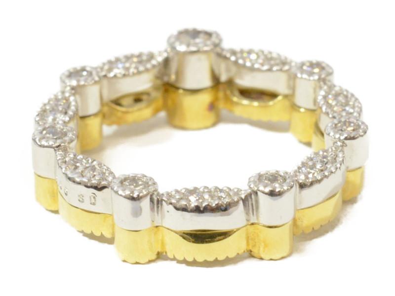K18WG K18 ゴールド/ホワイトゴールド ダイヤモンド D0.65ct 石付きリング 指輪 5号 【中古】