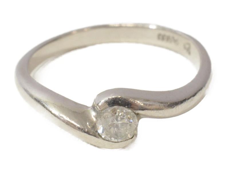 Pt900 プラチナ ダイヤモンド D0.20ct 石付きリング 指輪 11号 ソリティアリング シルバー レディース 【中古】