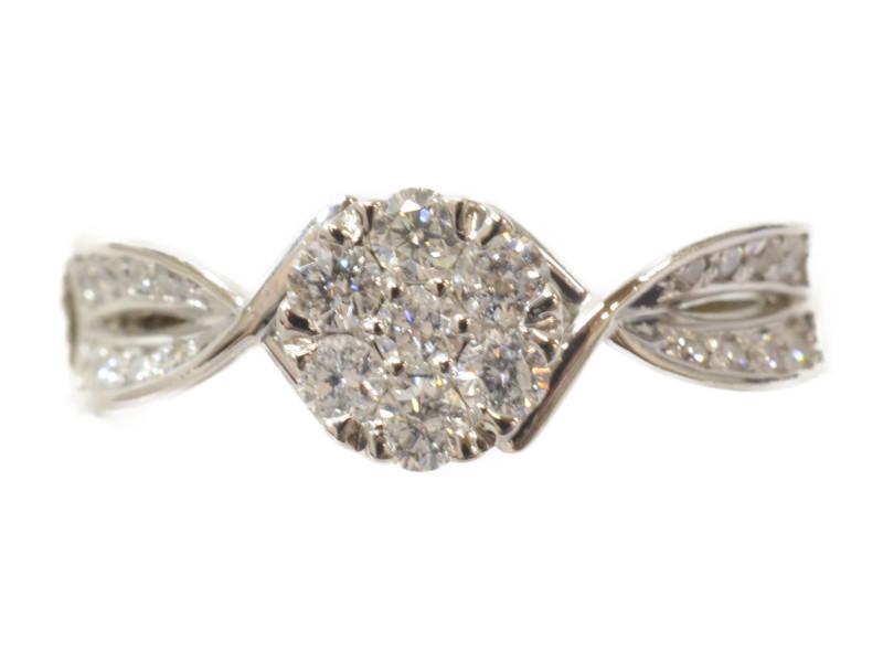 Pt900 プラチナ リング 指輪 ダイヤモンド シルバー 石付き 17号【中古】