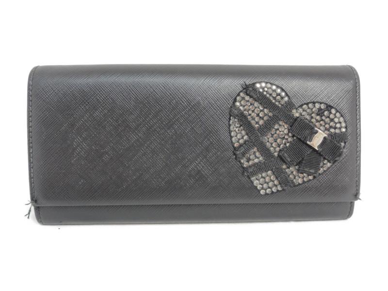 6390a32dc8b5 FERRAGAMO フェラガモ ヴァラリボンクリスタルハート長財布 ブラック レディース 【】 この商品はかんてい局盛岡店から発送いたします。
