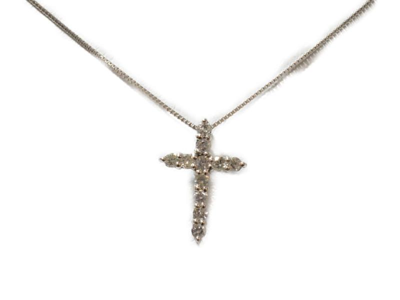 K18WG クロスモチーフ ダイヤネックレス ホワイトゴールド 18金 ダイヤモンド 十字架 ペンダント 【中古】