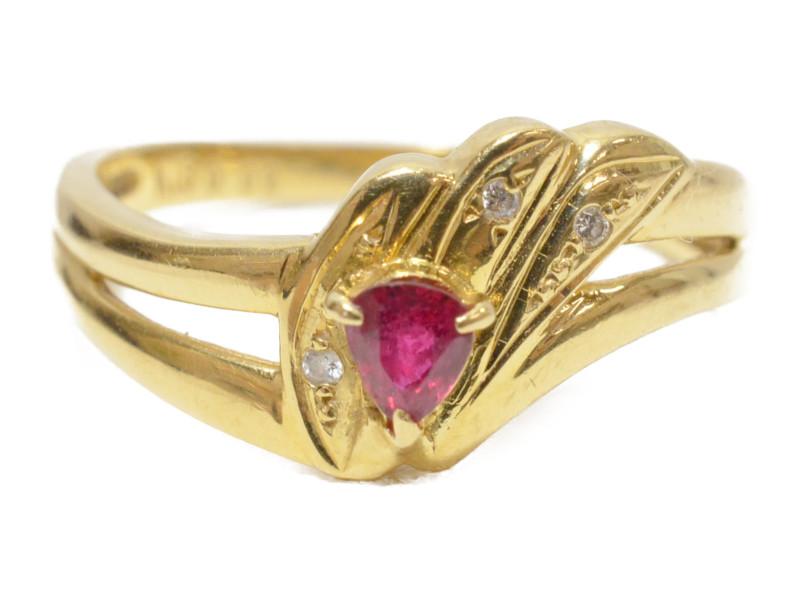 K18 赤石 翼モチーフリング ゴールド 18金 ダイヤモンド 羽 羽根 指輪 【中古】