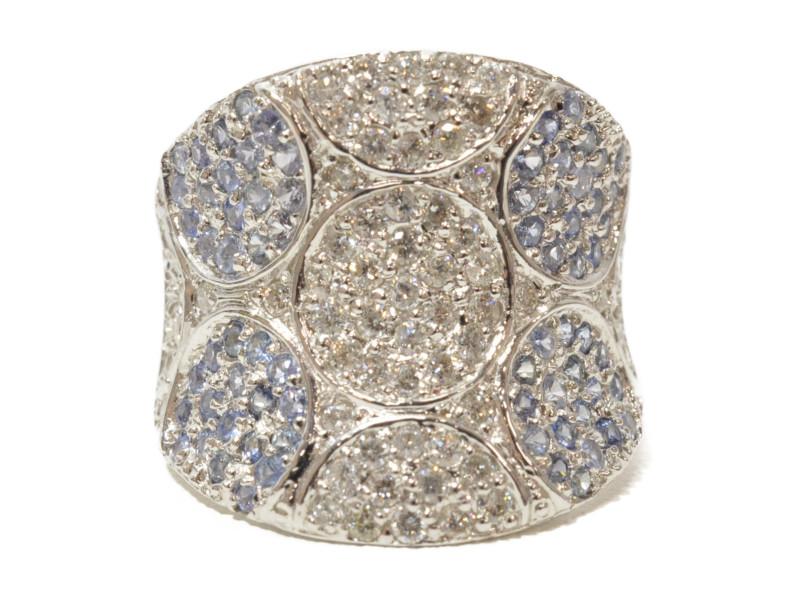 K18WG ホワイトゴールド 青石 ダイヤモンド 0.65/D0.78ct 石付きリング 指輪 ブルー/シルバー 12号 4月誕生石 レディース【中古】
