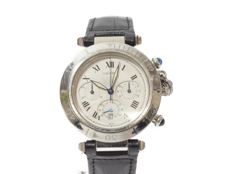 CARTIER カルティエ パシャ38 クロノグラフ QZ クオーツ 純正ブレス デイト メンズ 腕時計 【中古】
