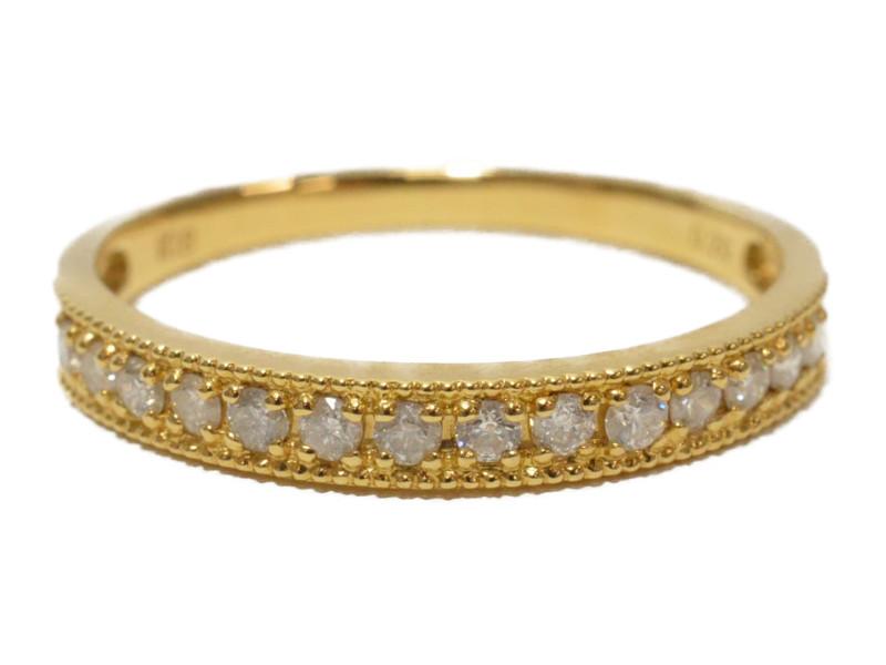 K18 ゴールド ダイヤモンド D0.20ct 石付きリング 指輪 ハーフエタニティリング ゴールド/シルバー 11号 4月誕生石 レディース【中古】