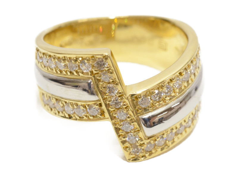 K18/Pt900 ゴールド/プラチナ ダイヤモンド D0.50ct  石付きリング 指輪 ゴールド/シルバー 12号 4月誕生石 レディース 【中古】