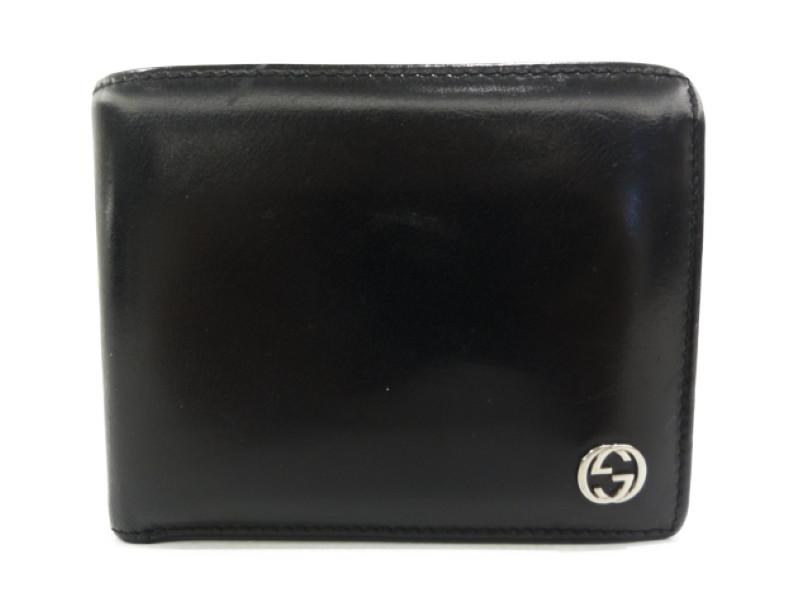 GUCCI グッチ 115214 二つ折り札入れ 二つ折り財布 メンズ ブラック 【中古】